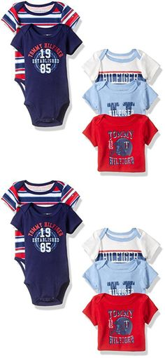Tommy Hilfiger Baby Boys' Short Sleeved Striped and Solid Bodysuits, Red/Blue, 3-6 Months (Pack of 5)