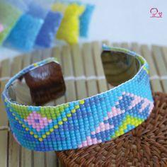 Bracelet manchette Tissage de Perles Rocailles