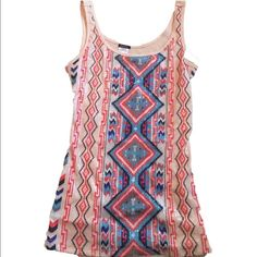 Sequin Tribal Tank! Adorable, great condition! Tops Tank Tops