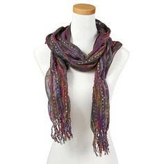 Spice up a neutral Winter look with a Multicolored Striped Scarf