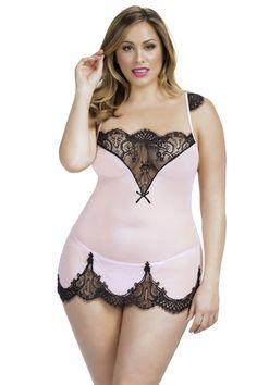 Coralie Plus Size Lace Chemise - Pink - Varela Intimates - #pink #shopvarela #lingerie #curvy #plussize