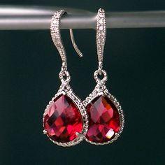 Ruby Red Jeweled Teardrop Earrings in Silver by CJRoseBoutique, $38.00