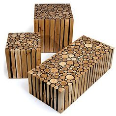 This unusual table is made entirely from alder branches collected at Brittania Beach, outside Vancouver. The designer dries the branches, fastens them together in rows with nails and glue, and then carves the resulting piles into stunning cubic shapes. The combination of organic materials and geometric lines gives this furniture its dynamic aesthetic. Alder is a renewable resource which grows all over the coasts of Comber's native British Columbia.