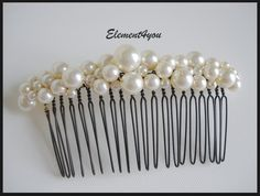 Bridal comb pearl Hair Accessories Wedding hair by Element4you, $26.00