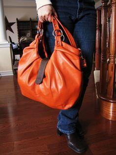 Large orange leather bag, pleated purse. Boston bag, convertible backpack purse - Tangerine Tango