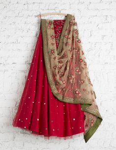 SwatiManish Lehengas SMF LEH 122 17 Valentine red badla lehenga with floral threadwork dupatta and red sequin threawork blouse Indian Dresses, Indian Outfits, Eid Dresses, Indian Attire, Indian Wear, Indian Style, Lehnga Dress, Lengha Choli, Sarees