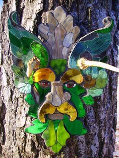 Green Man Glass Mosaic  One of a Kind Original by ThePamperedGoat, $200.00