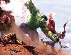 Hulk vs Avengers by Gabriele Dell'Otto