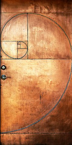 Copper door with Fibonacci sequence design