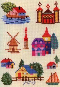 Vintage Ondori Cross Stitch Book - embroidery and stitching - Cross Stitch House, Cross Stitch Books, Mini Cross Stitch, Cross Stitch Needles, Modern Cross Stitch, Cross Stitch Charts, Cross Stitch Designs, Cross Stitch Patterns, Cross Stitching