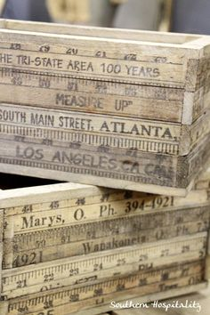 Boxes made from Old yardsticks
