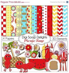 40 Off SALE Picnic Digital Scrapbook Kit  Red and Yellow Aqua by DigiScrapDelights,