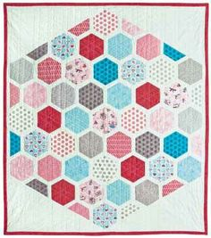 Red Rooster fabrics..All the hexies are fused together.