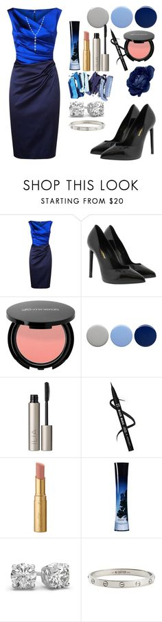 """""""Why so Blue?"""" by lenajfam ❤ liked on Polyvore featuring Talbot Runhof, Yves Saint Laurent, Burberry, Ilia, Too Faced Cosmetics, Giorgio Armani, Cartier and Tiffany & Co."""