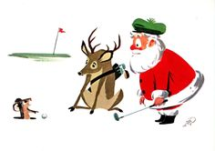 Santa playing golf and ticks off a gopher. Reindeer is embarrassed. Mid-Century Retro Christmas Card.