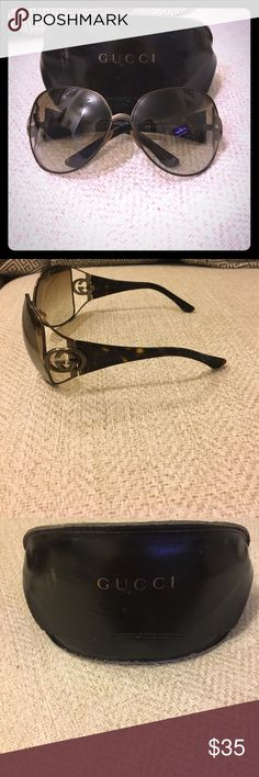 Gucci Sunglasses Super cool Gucci Sunglasses. Great for style and protecting your eyes! Comes with original case and cloth. As pictured, the right side has a discoloration and so price has been adjusted bc of it! Gucci Accessories Sunglasses