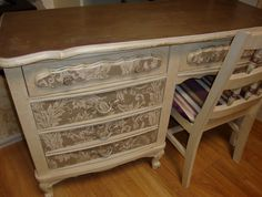"This desk was refinished by ""FauxRealbyJoyce"""