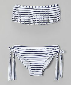 Another great find on #zulily! Black & White Stripe Fringe Bikini - Girls #zulilyfinds