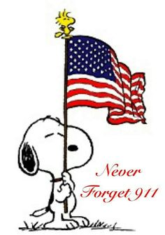 Snoopy holding flag. Never forget 911.