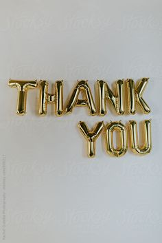 """Gold """"THANK YOU"""" balloon letters hanging on the wall Emoji Names, Thank You Pictures, Gold Aesthetic, 100 Followers, Letter Balloons, Inspirational Wallpapers, Insta Posts, Character Aesthetic, My Favorite Color"""