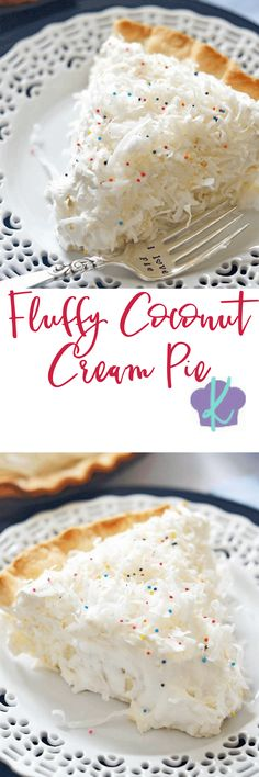 This Fluffy Coconut Cream Pie is simply divine!  The custard filling is rich and smooth, and using coconut milk and coconut extract gives it an extra creamy burst of coconut flavor.  Topped with homemade whipped cream, this pie is a must make any time of the year.