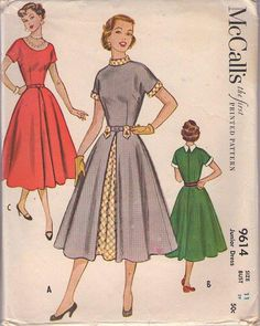 MOMSPatterns Vintage Sewing Patterns - McCall's 9614 Vintage 50's Sewing Pattern DIVINE Petite Rockabilly Lucy Kimono Sleeve Party Dress, Full Skirt, Contrast Front Inset Panel Size 11