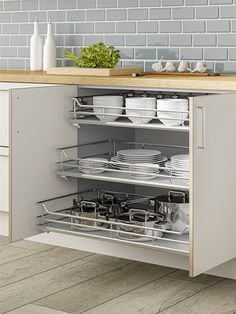Soft Close Kitchen pull out solid base wire drawers for standard size cabinets. Solid Base baskets for hinged door kitchen cabinets. Closed Kitchen, Open Plan Kitchen, New Kitchen, Kitchen Decor, Kitchen Design, Kitchen Ideas, Hidden Kitchen, Pantry Design, Cabinet Design