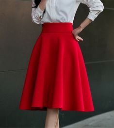 High Waist Pleat Elegant Skirt Green Black White Knee-Length Flared Skirts Fashion Women Faldas Saia  Plus Size Ladies Jupe