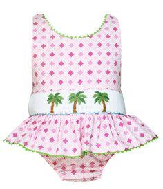 Anavini Smocked Palm Trees One Piece Swim Suit