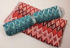 Vintage Polyester Fabric 3 3/4 Yards x 56 Tribal Bohemian Pink Orange Blue Green