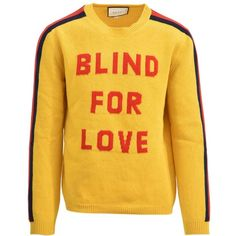 Blind for Love Sweater (50.575 RUB) ❤ liked on Polyvore featuring men's fashion, men's clothing, men's sweaters, yellow, men's wool crew neck sweaters, mens wool sweaters, mens yellow sweater, gucci mens sweater and mens crewneck sweaters