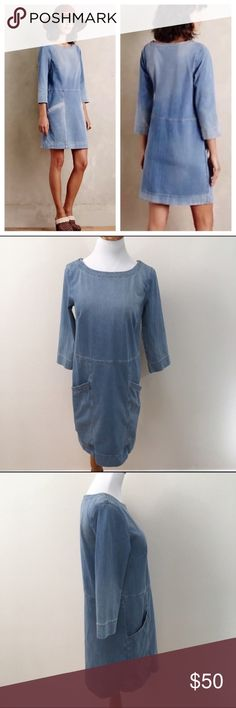 """AG Adriano Goldschmied Anthro Denim Shift Dress XS Excellent condition! Oversize. Clean and comes from smoke free home. Questions welcomed! Approx. measurements: Armpit to armpit: 17.5"""" across Waist: 17.5"""" across Hips:18.5"""" Sleeve length: 18"""" Length: 33.75"""" Anthropologie Dresses Midi"""