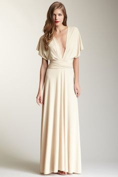 Long Ivory Wrap Dress. Convertible dress for a super casual bride - can dress it up... would be pretty if that's yo style ;)
