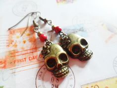 Skull earrings with red turquoise beads, Day of the Dead jewelry, Selma Dreams Cinco De Mayo earrings, goth bohemian jewellery gifts by SelmaDreams on Etsy