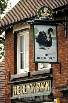 The Black Swan, pub sign in Shefford, Bedfordshire, England, United Kingdom Swans, Black Swan Pub, Downton Abbey, Uk Pub, British Pub, Pub Signs, Pub Crawl, Pub Bar, Store Signs