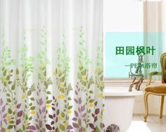 """72"""" by 72""""Water Resistant Fabric Shower Curtains Maple Leaf Design Bathroom Decor 850"""