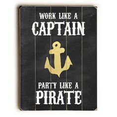 Party Like A Pirate Wood Sign