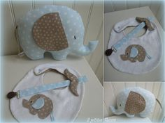 elephant softie with bib and pacifier strap Sewing Toys, Baby Sewing, Sewing Crafts, Quilt Baby, Sewing Projects For Kids, Sewing For Kids, Softies, Baby Gifts To Make, Diy Bebe