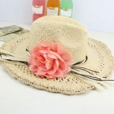 $5.84 Grace Chiffon Flower Embellished Braided Straw Hat For Women