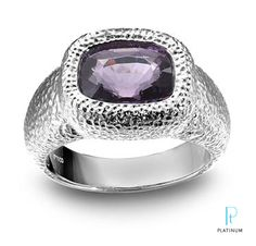 Alan Friedman platinum cocktail ring with a cushion-cut purple spinel. Platinum Honors winner at AGTA Spectrum Awards