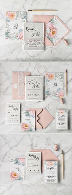 Floral peach & grey wedding invitation with calligraphy printing #peach #floral