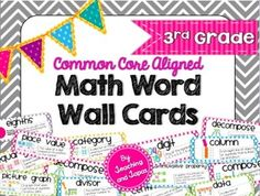 Math Word Wall for the 3rd Grade Common Core Standards.Every vocabulary word has a brief definition written in simplified, but mathematically accurate, language and colorful illustrations that are perfect in Grade 3.  There are a total of 138 math vocabulary word cards    -Alyssha Swanson Teaching and Tapas: 2nd Grade in Spain