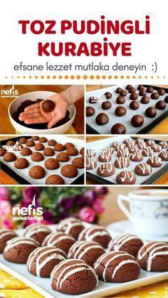Pudingli Kurabiye Tarifi (videolu) – Nefis Yemek Tarifleri – Kurabiye – The Most Practical and Easy Recipes Pudding Desserts, Pudding Cookies, Pudding Recipes, How To Make Pudding, Pasta Cake, Cookie Recipes, Dessert Recipes, Sweet Cookies, Turkish Recipes