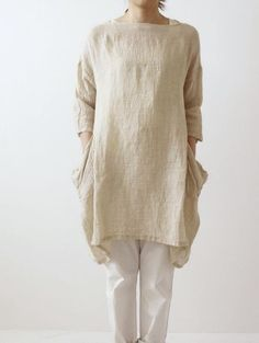 wrinkle linen drop pocket tunic