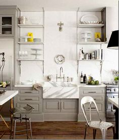 gray cabinets white marble