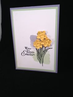 Daffodils made with the Petite Petals Punch and stamp set Blessed Easter from stampin' up! and www.craftyhallett.co.uk