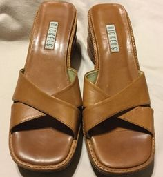7b82127b5ac33a Nickels Tan Leather Wedge Sandals Woman s Size