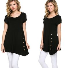Button Accent Tunic Top A must have basic black top! Features button accent on side. Material is 95% rayon and 5% spandex.  Small busy measures about 32-36 inches, waist 34 length 32. Medium bust about 36-40 inches, waist 38 inches, length 33. Large bust 38-42 inches, waist 40 inches , length 34 inches.  Price FIRM unless bundled. Tops Tunics