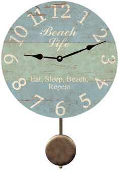 Pelican Beach Clock Beach Themed Wall Clock Wall clocks Clocks
