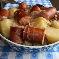 Crockpot Sauerkraut, Kielbasa, and Potatoes